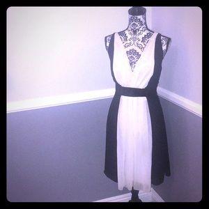 GORGEOUS Classy&Fancy Black/White Chiffon Dress!